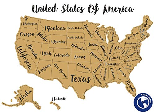 (Scratch Off United States (USA) Map - Perfect Size, Fits in 24