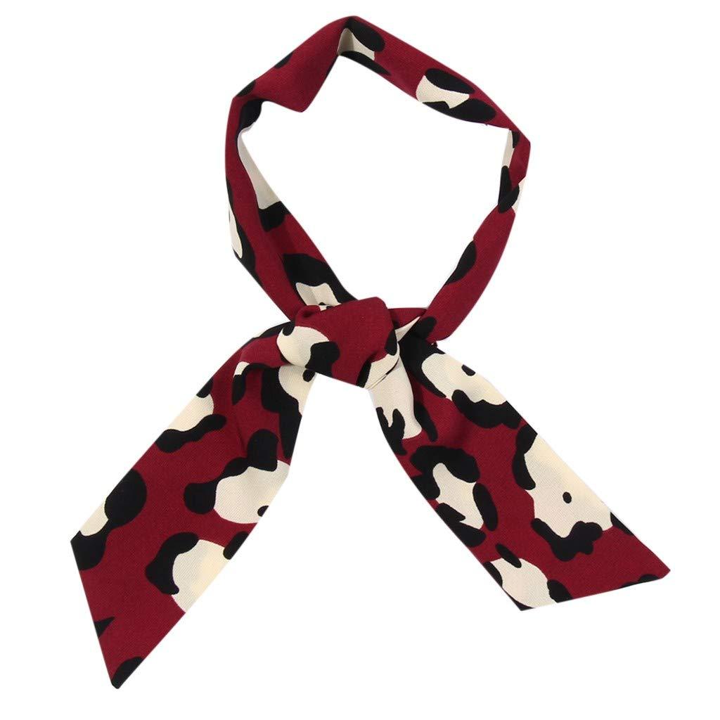 Women Ribbon, LuluZanm Women Ladies Leopard Print Scarf Wrap Shawls Soft Silk Scarf Ribbon (Yellow) Most Wished For