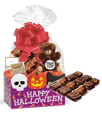 Happy Halloween Gourmet Food Gift Basket Chocolate Brownie Variety Gift Pack Box (Individually Wrapped) 12pack