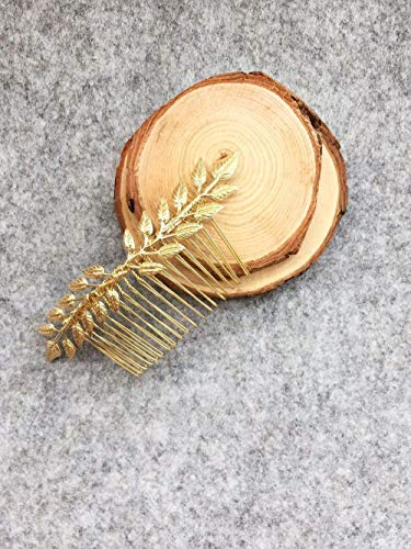 Aegenacess Wedding Hair Combs Decorative Leaf Leaves Bridal Hair Clip Laurel Greek Branch Boho Grecian Side Comb Accessories Headpieces for Brides and Bridesmaids Women Girls (Gold)