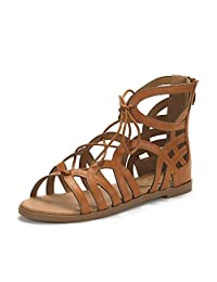DREAM PAIRS CESAR New Women Open Toe Cutout Lace-Up Open Toe Ankle Strap Gladiator Flat Sandals