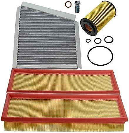 Inspektionspaket Set A 1x Luftfilter 1x Innenraumfilter Pollenfilter Mit Aktivkohle 1x Ölfilter 1x Ölablass Schraube 1x Dichtring Für Ölablass Schraube Auto