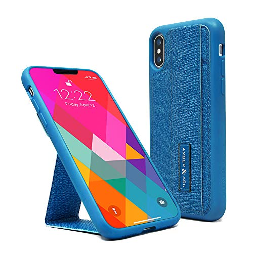 Amber & Ash Strap Stand Wallet Case - Protective and Durable Kickstand Case with Reflective Feature and Hidden Card Slot - for iPhone X and Xs