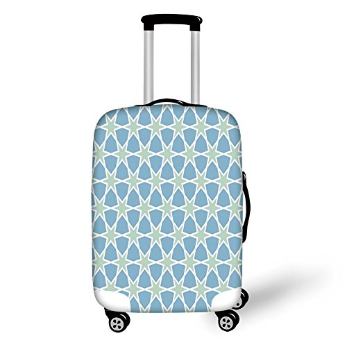 Travel Luggage Cover Suitcase Protector,Moroccan,Mosaic Pattern Repeating Glazed Zellige Art Figures Stars Roman Inspirations,Green Blue White,for Travel ()