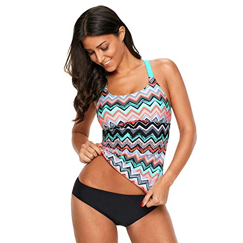 Women's Striped Strappy Racerback Zigzag Print Y Back Tankini Swimsuit Tops (No Bottoms,S-3XL) LC410603 Rose Red-S