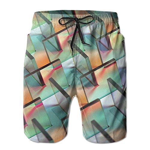 Jingclor Men's Beach Shorts Artistic Glass Cool Pattern Quick Drying Swim Trunks Boardshort With Pocket -