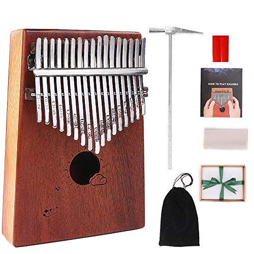 MAXEDOD Kalimba 17 Keys Thumb Piano Mahogany Portable Finger Piano Mbira 17 Tone Musical Toys with Tuning Hammer and Study Guide, Cloth Bag, Best Gift for Kids, Adults, Beginners ()