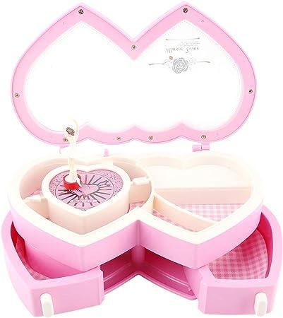 Caja Musical, Estuche de Almacenamiento de Caja de joyería Musical de Doble Bailarina de corazón para niñas(Rosado): Amazon.es: Hogar