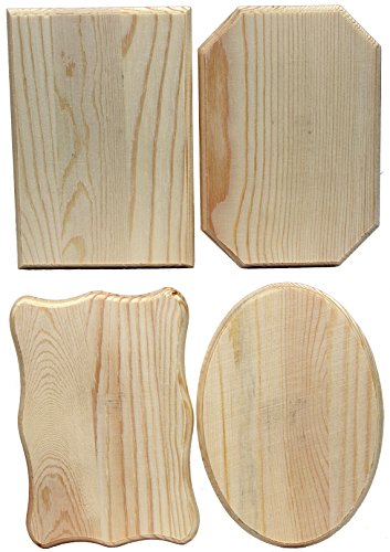 Creative Hobbies Unfinished Wood Plaques, 6.5 Inch x 4.5 Inch, 4 Assorted Shapes