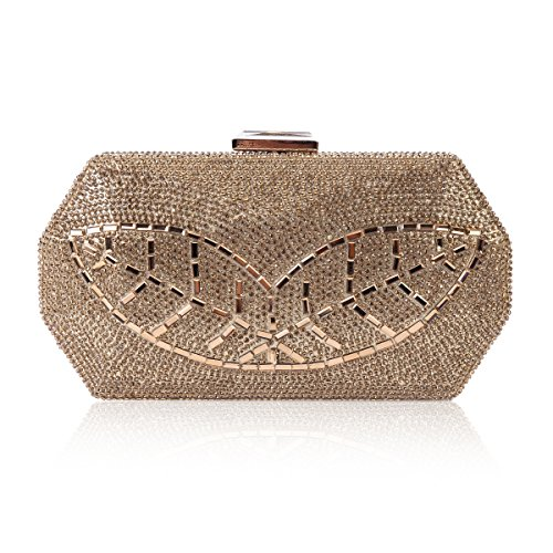 Damara Womens Leaf Pattern Crystal Sparkling Hardcase Evening Bag,Gold (Evening Bag Pouch Metallic)