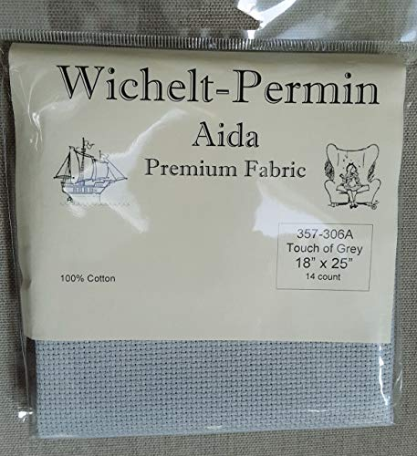 Wichelt Permin Premium Aida Cross Stitch Fabric 14 Count Touch of Grey 18″ x 25″