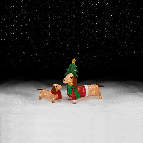 (Set of 2 Lighted Wiener Dog Dachshunds Sculptures Outdoor Christmas Yard Decoration Holiday Display 50 Lights)