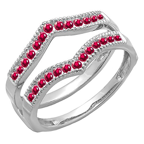 Dazzlingrock Collection 0.45 Carat (ctw) 14k White Gold Round Ruby Ladies Millgrain Wedding Guard Double Ring 1/2 CT (Size 9) -