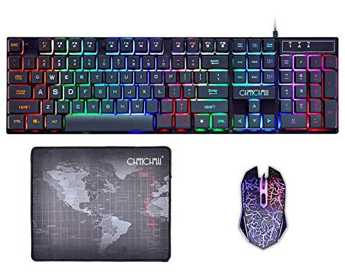 Gaming Keyboard and Mouse Mousepad Combo Mechanical Feeling Rainbow LED Backlight Emitting Character 3200DPI Adjustable USB Mice Compatible with PC Resberry Pi iMac TDB910(Black) ()