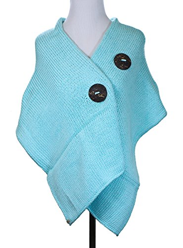 Pure Handknit Original Button Wrap Sweater Mint Blue Apparel