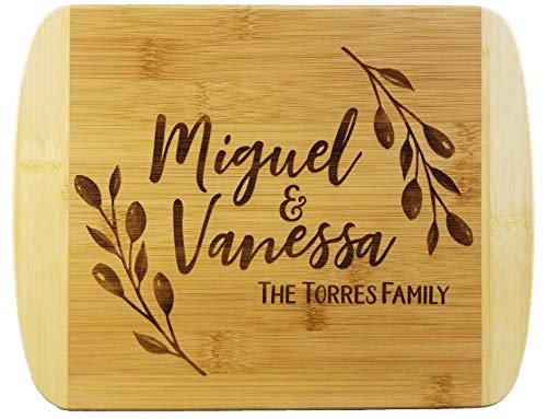 Rustic Wreath Custom Names Wooden Cutting Board (Thick) Custom Wedding Gift Engraved, Serving Tray | Meat, Vegetables, Cheese | Personalized Real Estate Closing Gifts for Buyers, Realtor New Home Gift