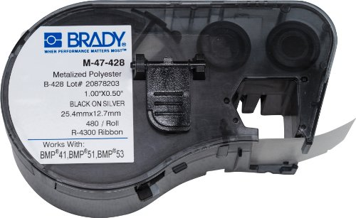Brady M-47-428 Labels for BMP53/BMP51 Printers (Metallized Labels Polyester Permanent)