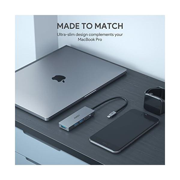 AUKEY Hub USB C con Lettore di Scheda SD e MicroSD,3 Porte USB 3.0 Adattatore USB C in Alluminio per MacBook PRO 2018… 4 spesavip