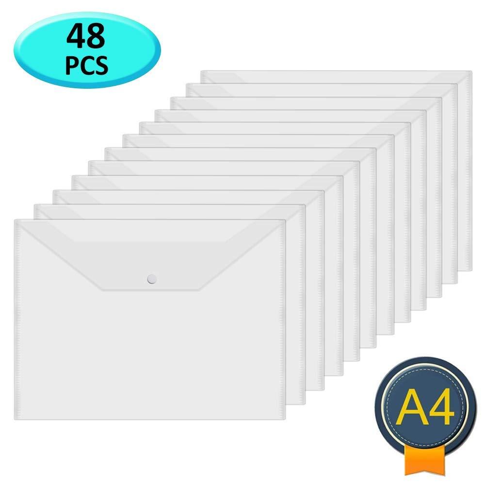 Acrux7 48Pcs Plastic Wallets Folders - A4 Document Folder Wallet Popper Wallets with Button for School,Office (Clear) by Acrux7