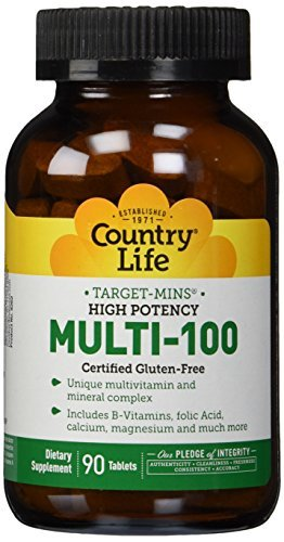 (Country Life, Gluten Free, Multi-100, Time Release, High Potency, 90 Tablets by Country)