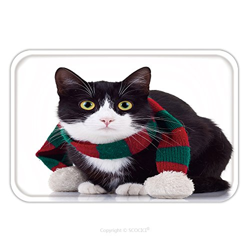 Flannel Microfiber Non-slip Rubber Backing Soft Absorbent Doormat Mat Rug Carpet Cute Black And White Cat Wearing Winter Scarf And Looking At The Camera 112230212 for Indoor/Outdoor/Bathroom/Kitchen/W