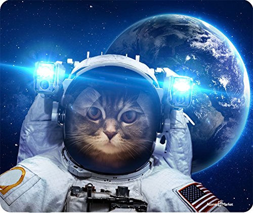Atomic Market Cat in Space Thick Mouse Pad