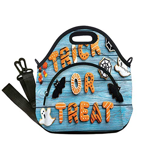 Insulated Lunch Bag,Neoprene Lunch Tote Bags,Vintage Halloween,Trick or Treat Cookie Wooden Table Ghost Bat Web Halloween,Blue Amber Multicolor,for Adults and children