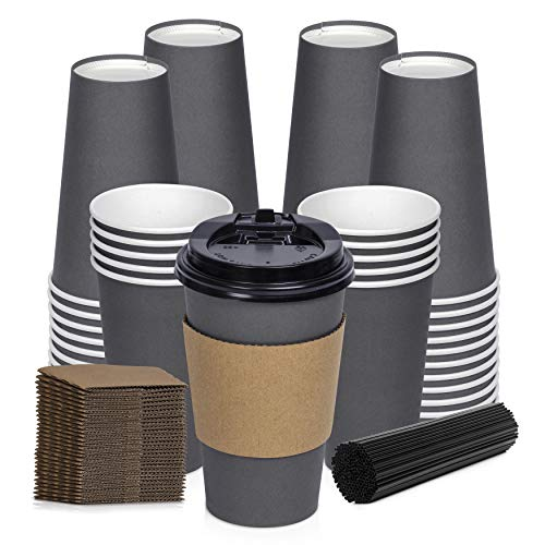 Savourio Coffee Cups with Lids - 16 Oz Disposable Coffee Cups 100 Pack Paper Cups with Stirring Straws, Lids, Sleeves, Hot Coffee Container - Grey Tall Tea Cup to Go - Leakproof Paper Sleeves Cups