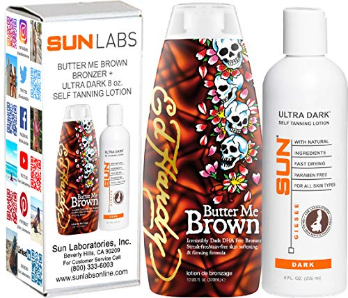 ED HARDY Butter Me Brown DHA FREE Streak & Stain Free Bronzers 10oz | Sun Laboratories Ultra Dark Self Tanner 8 oz | Self Tanner - Natural Sunless Tanning Lotion, Body and Face for Bronzing and Golden