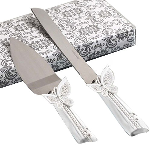 Kangkang@ 2 PCS Stainless Steel Wedding Rhinestone Cake Knife Cutter Server Set for Wedding Anniversary with Box (4)