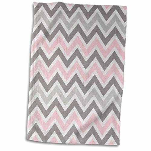 3dRose Pink n Gray Zig Zag Stripes Towel, 15