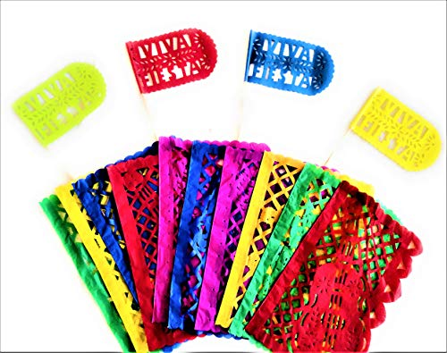 Papel Picado Banner | Multicolor Tissue Paper Garland | Two (2) Medium Mexican Paper Banners 25 Feet / 20 Panels | Two (2) Viva Fiesta Flags Included ()
