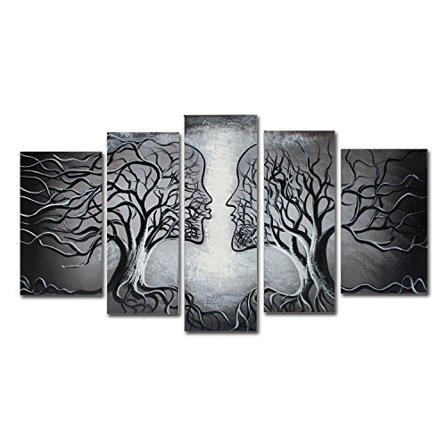 FLY SPRAY 5-Piece 100% Hand-Painted Grey Oil Paintings Panels Stretched Framed Ready Hang Lover Couple Kiss Flora Tree Modern Abstract Canvas Living Room Bedroom Office Wall Art Home Decoration (Framed Canvas Paintings)