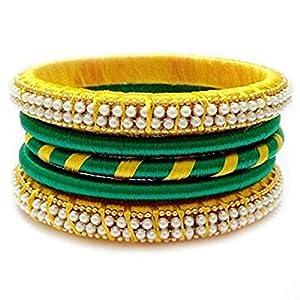 GOELX Festive Offer: Green & Yellow Silk Thread Handmade Bangle Bracelet for Women