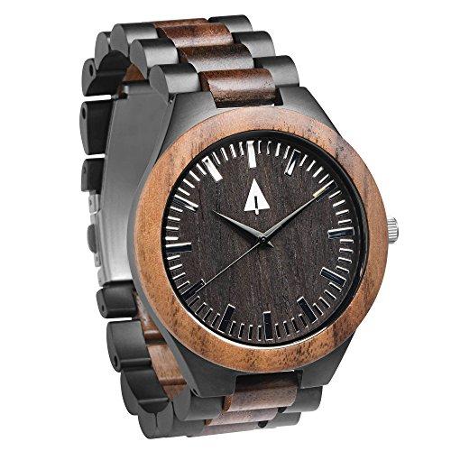 Treehut Men's Walnut Wooden Black Stainless Steel Watch Quartz Analog with Qu...