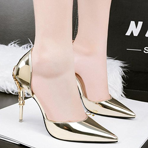 Ladies Pointed Toe Stilettos High Heels Slip On Dress Womens Court Shoes Pumps Wedding Party Bridal Shoes Gold zYhEXVdYxa