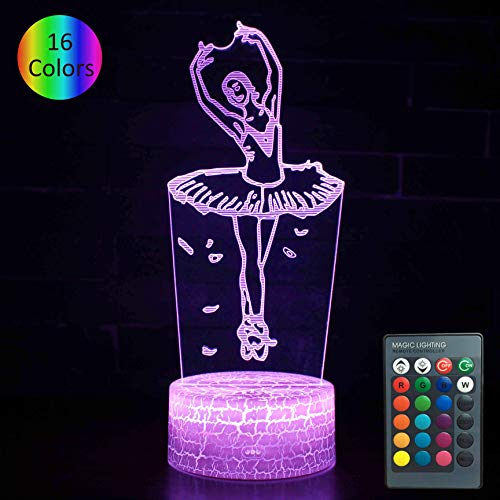 YOUNSH Ballet Lamp, Girls Night Light Bedside Lamp 16 Color Changing with Smart Touch & Remote Control for Kids Lamps Princess Bedroom Decor as Birthday Gifts Idea for Girls