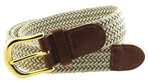 Braided Elastic Woven Stretch Belt Gold Buckle White and Solid Color Strap - Belt Buckle Gold Woven