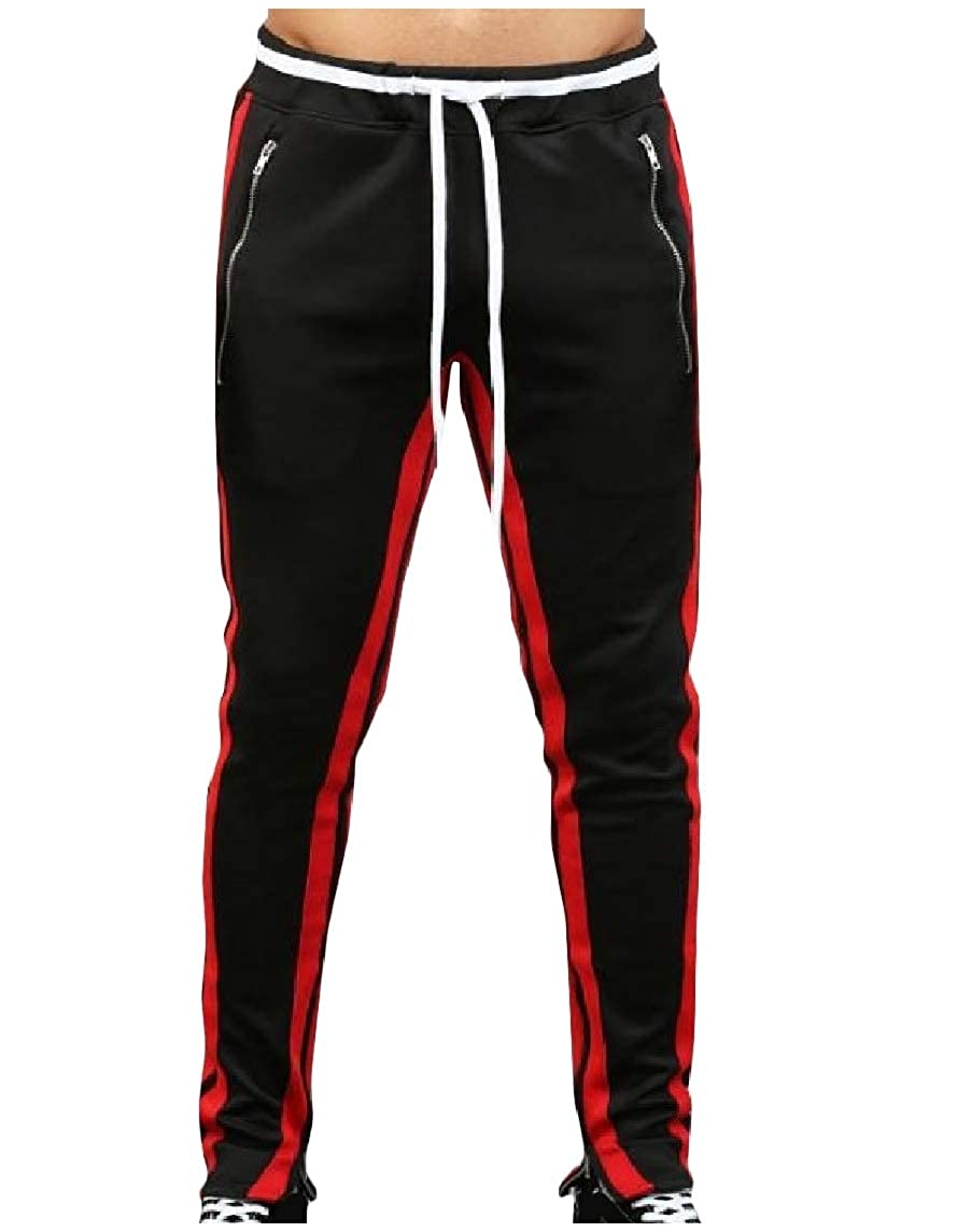Nicelly Men Athletic Trim-Fit Drawstring Mid-Waist Color Conjoin Training Running Trousers