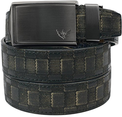 SlideBelts Men's Winged Gunmetal - Custom Fit (Animal-Friendly Checkered Leather with Winged Gunmetal Buckle)