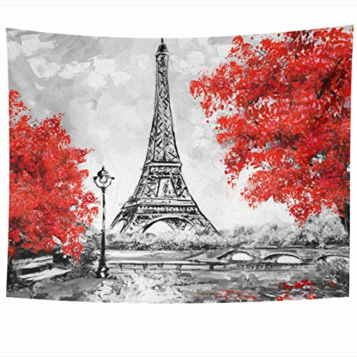 AlliuCoo Wall Tapestries 60 x 50 Inches Paris European City Landscape France Eiffel Tower Black White Red Modern Trees Home Decor Wall Hanging Tapestry Living Room Dorm