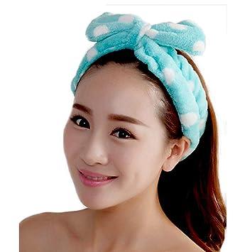 playhunter Women's Ribbon Headband - Playhunter Best Fashionable Cute Fluffy Elastic Makeup Headband Hairband for Shower, Face Washing, Facial Mask, Spa, Cosplay, Party (Blue dot)