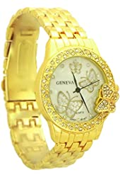 Geneva Fashion style Butterflies Women's Quartz Rhinestone Watch gold tone - 2