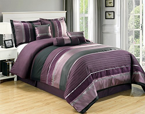 7 PC Modern PURPLE BLACK SILVER Chenille Comforter Set / BED IN A BAG - KING SIZE BEDDING