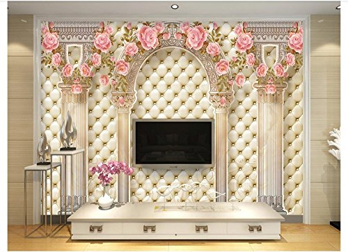 Mznm 3D European Style Mural Photo Wallpaper Luxury Roman Pillars Soft Pack Tv Sofa Background Wall Home Decoration Painting -200X140Cm by Mznm (Image #1)