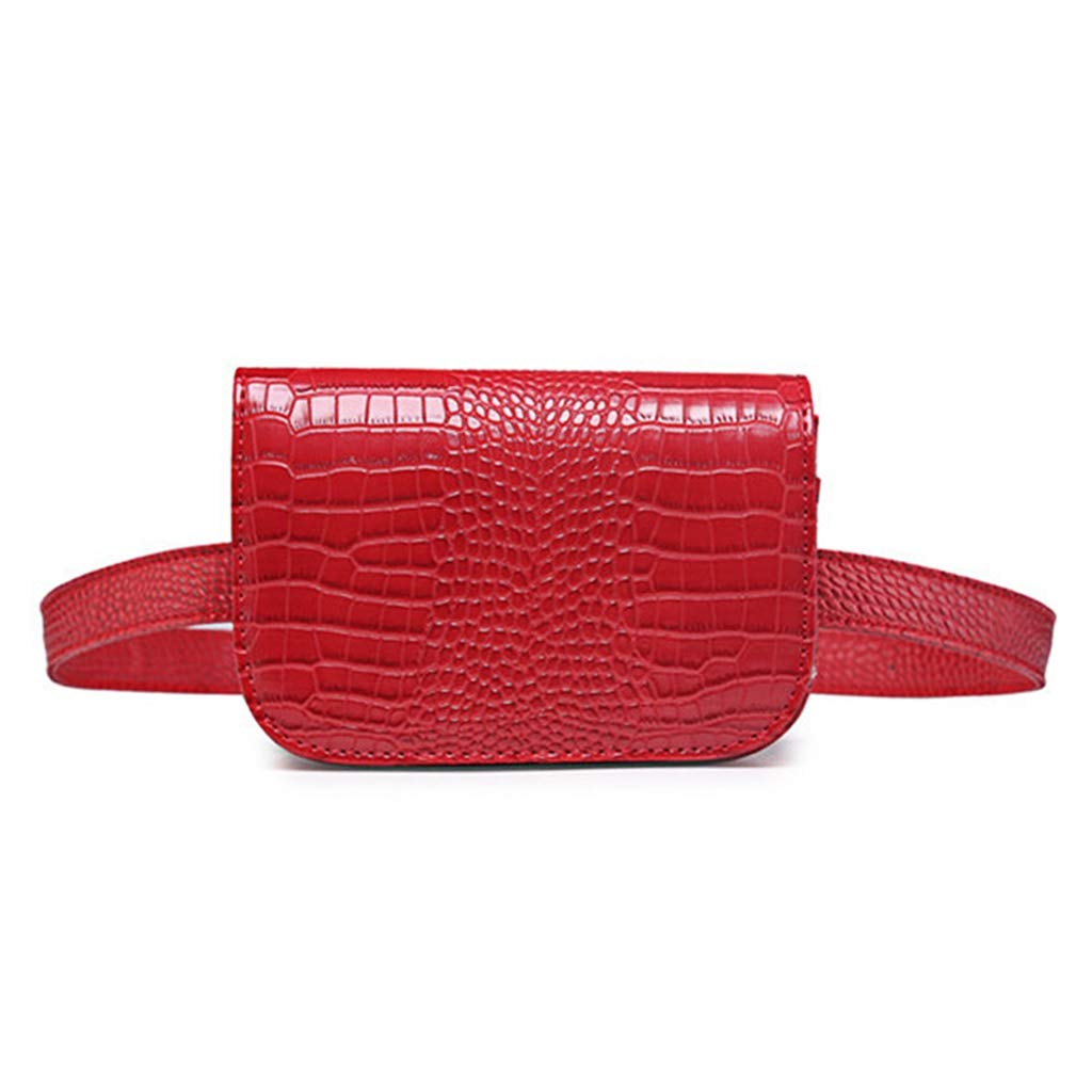 Badiya Women's Mini Waist Bag Fanny Packs Crocodile Leather Cell Phone Pocket WP02129BK
