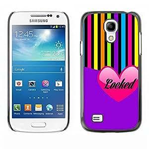Paccase / SLIM PC / Aliminium Casa Carcasa Funda Case Cover - Heart Love Purple Colorful Lines - Samsung Galaxy S4 Mini i9190 MINI VERSION!
