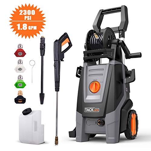 TACKLIFE Electric Pressure Washer, 2300PSI 1.8 GPM, High Efficiency Power, Electric Pressure Cleaner, Pure Copper Motor, 360 Easy to Remove Dirt, for Vehicle, Home, Garden, Barbecue
