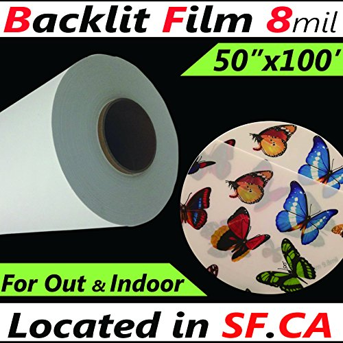 50 in x 100 ftInkjet Digital Printing Backlit Photographic pet Film 8mil,Great for Latex,eco-Solvent,uv PrintersWide Format Printing Materials