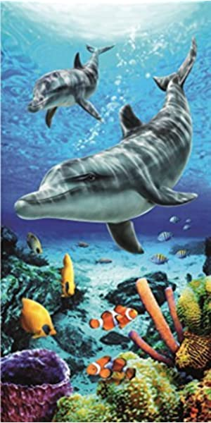 Softerry Tropical Island Beach Towel 30 x 60 inch 100/% Cotton Coral Reef and Fishes